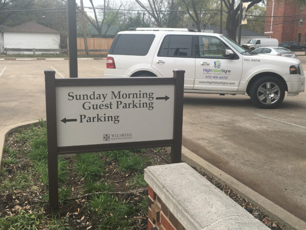 Exterior wayfinding signs for churches in Dallas TX